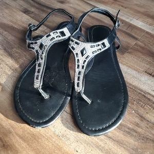 Madeline stuart black and white jeweled sandals